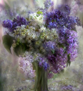 Vase Mixed Media Posters - Lilacs Of Love Poster by Carol Cavalaris