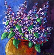 Oil  Gallery Paintings - Lilacs by Richard T Pranke
