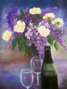 Roses Posters - Lilacs  Roses and Wine Poster by Joni M McPherson