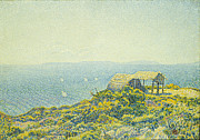 Picturesque Framed Prints - LIle du Levant vu du Cap Benat Framed Print by Theo van Rysselberghe
