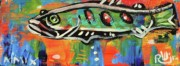 Folk Art Mixed Media Posters - LilFunky Folk Fish number fifteen Poster by Robert Wolverton Jr