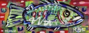 Outsider Art Mixed Media - LilFunky Folk Fish number fourteen by Robert Wolverton Jr