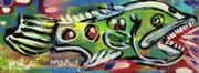 Folk Art Mixed Media Posters - LilFunky Folk Fish number thirteen Poster by Robert Wolverton Jr