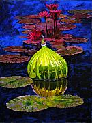 Blown Posters - Lilies and Glass Reflections Poster by John Lautermilch