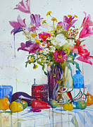 Bouquet Paintings - Lilies and piggy bank by Andre MEHU