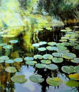 Reflections Mixed Media Originals - Lilies by George Ganciu