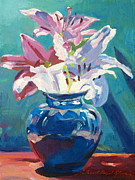Featured Paintings - Lilies in Blue by David Lloyd Glover