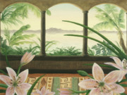 Landscape Paintings - Lilies in Paradise by Cathy Cleveland