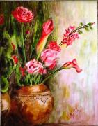 Lilies Paintings - Lilies in the Pots by Harsh Malik