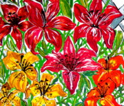 Crimson Lilies Prints - Lilies Print by Nancy Rucker