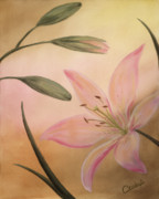 Lilies Paintings - Lilies Part 2 by Cathy Cleveland