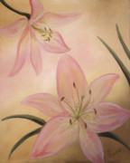 Lilies Paintings - Lilies Part1 by Cathy Cleveland