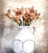 Pottery Pitcher Metal Prints - Lilies Pitcher Metal Print by Marsha Heiken