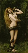 Female Nude Framed Prints - Lilith Framed Print by John Collier
