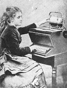 Typewriter Photos - Lillian Sholes, The First Typist, 1872 by Science Source