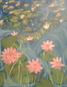 Lilly Pond Paintings - Lillians pond by Amanda Fleming