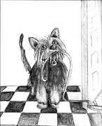 Mutt Drawings - Lillie by the Door by Carol Allen Anfinsen