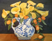 Blue And White Pitcher Photos - Lillies and Kumquats by Mary Emily Correia