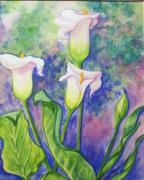 Helen Mixed Media Posters - Lillies  b Poster by Helen Thomas