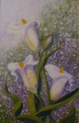 Helen Mixed Media Posters - Lillies  d Poster by Helen Thomas