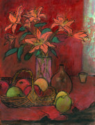 Still-life With Flowers Posters - Lillies Poster by Ethel Vrana