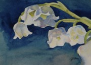 White Blossoms Paintings - Lilly of the Valley by Gretchen Bjornson