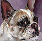Beige Prints - Lilly The French Bulldog Print by Enzie Shahmiri