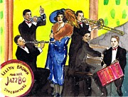 Big Bands Drawings - Lillyn Brown and her Jazzbo Syncapators by Mel Thompson