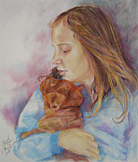 Dog Portraits Pastels Prints - Lily and Bear Print by Gloria Turner