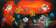 Landscape Greeting Cards Painting Posters - Lily Bells Poster by Uma Devi