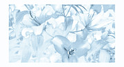Print On Canvas Digital Art Framed Prints - Lily Garden Blue Framed Print by Jayne Logan Intveld