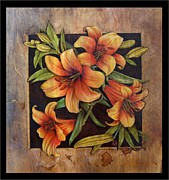 Woodburn Pyrography Framed Prints - Lily Happy Framed Print by Cynthia Adams