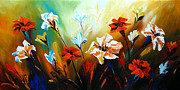 Landscape Greeting Cards Painting Posters - Lily in Bloom Poster by Uma Devi