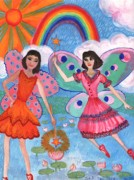 Sue Burgess Paintings - Lily Pond Fairies by Sushila Burgess