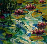 Water Reflections Painting Framed Prints - Lily Pond II Framed Print by Marion Rose