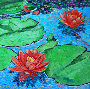 Lotus Leaves Paintings - Lily Pond Impression by Ana Maria Edulescu