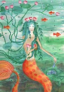 Sue Burgess Paintings - Lily Pond Mermaid with Goldfish Snack by Sushila Burgess