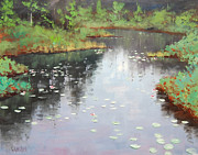 Lily Pond Paintings - Lily Pond Reflections by Graham Gercken