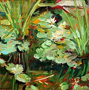 Pond Painting Prints - Lily Ponderings Print by Marie Massey
