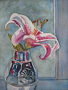 Floral Watercolor Painting Originals - Lily with Carnations by Jenny Armitage