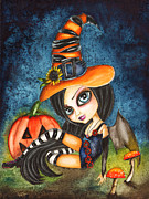 Blue Mushrooms Painting Posters - Lilys Halloween Poster by Lillian Fioretzi