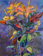 Lily Mixed Media Posters - Lilyscape Poster by Marty Husted