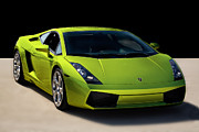 Italian Sports Cars Posters - Lime-Borghini Poster by Peter Tellone