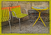 Outdoor Cafes Posters - Lime Chairs Poster by Joan  Minchak