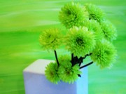Lime Green Prints - Lime Flowers Print by Marsha Heiken