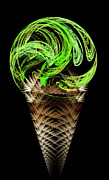 Yummy Digital Art - Lime Ice Cream Cone by Andee Photography