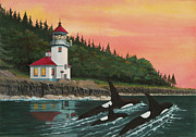 San Juan Prints Mixed Media - Lime Kiln Lighthouse by James Lyman