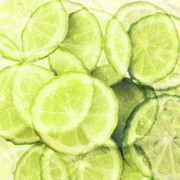 Rind Posters - Lime Slices Poster by Linde Townsend