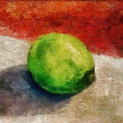 Green Seasonal Prints - Lime Still Life Print by Michelle Calkins