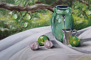 Outdoor Still Life Pastels - Limes and Mirabelles by Marie-Claire Dole